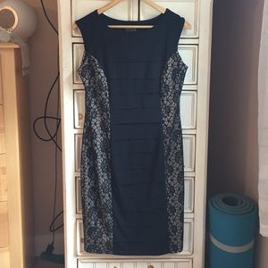 Black and Lace Fitted Dress